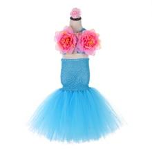Aqua Blue Princess Mermaid Dress Girl Kids Masquerade Dresses Under the Sea Mermaides Bridesmaid Dresses Flower Girls Tutu Dress все цены