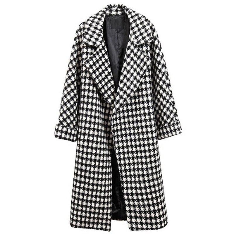 Autumn Winter Women XL Hairy Cardigan Coat Female 2019 New 200 Pounds Large Size Long Section Thicken Plaid Nizi Coat Female S53