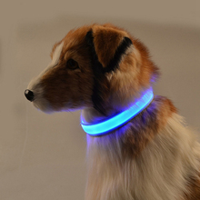 Nylon LED Pet Dog Collar Night Safety Flash Glow In The Dark Dog Leash Dog Luminous Fluorescent Collar Pet Supplies