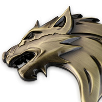 Wolf Tiger Lion Head Logo Front Grille Emblem Badge Automobile Truck Motorcycle Sticker Decal Accessories For