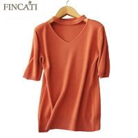 Women Shirt 2017 Autumn Winter High Quality Pure Cashmere V Neck Short Sleeve Soft Skin Friendly