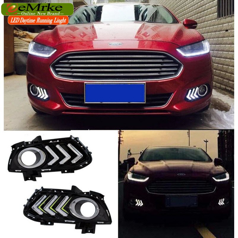 eeMrke Car LED Daytime Running Lights For Ford Mondeo Fusion MK V 2013 - 2015 High Power Xenon White Fog Cover DRL Kits  недорого