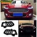 eeMrke Car LED Daytime Running Lights For Ford Mondeo Fusion MK V 2013 - 2015 High Power Xenon White Fog Cover DRL Kits