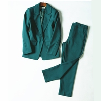 Work Pant Suits OL 2 Piece Set for Women Business interview suit set uniform smil Blazer and Pencil Pant Office Lady suit