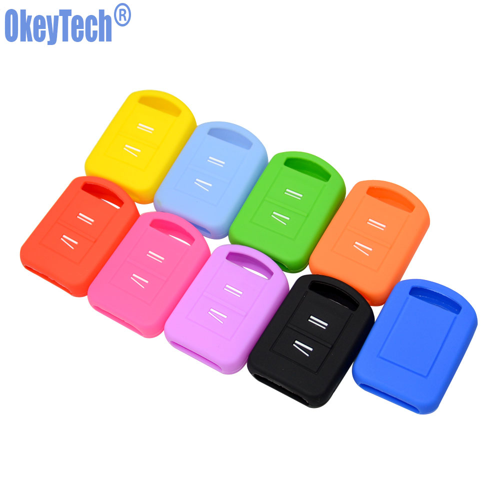 OkeyTech Replacement Silicone Car Key Case Fob Cover For Vauxhall Opel Corsa Agila Meriva Combo 2 Button Remote Key Shell Holder