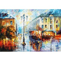 Hand Painted Oil Painting On Canvas For Abstract Old Street Thick Palette Knife Painting Living Room Wall Decor Artwork Art