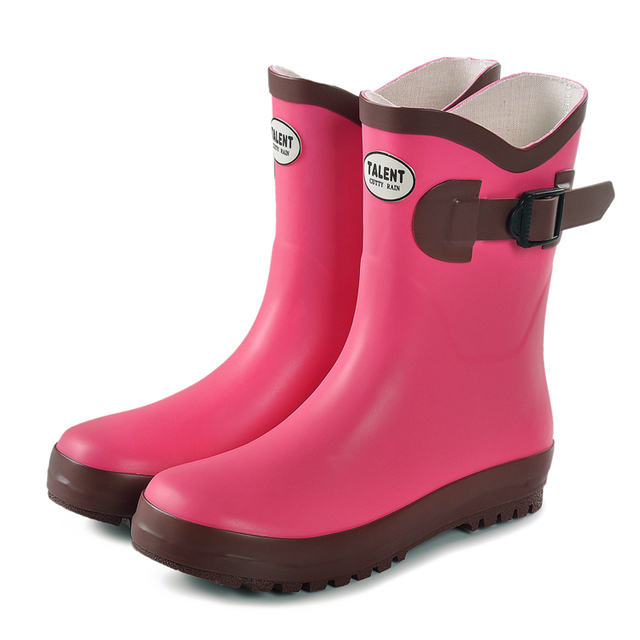 Kids Environment Friendly Rubber Rain Boots Girls Solid Pink Color ...