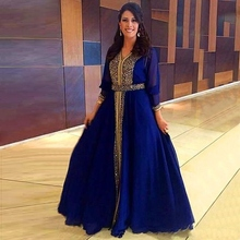 2016 Arabic Muslim Long Sleeves Robe de Mariage Vestido Hijab Dubai Moroccan Royal Blue Caftan Long Event Gown Women Prom dress