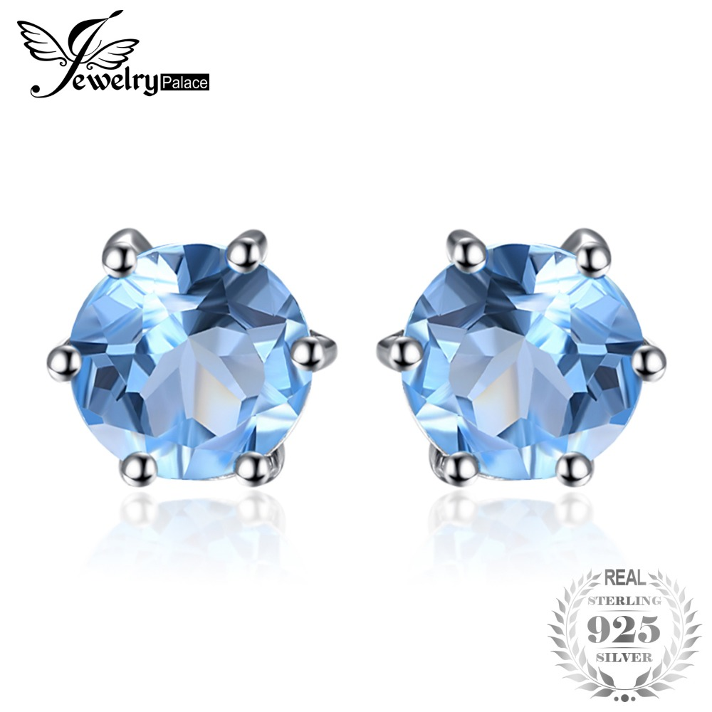 JewelryPalace Spherical 1.2ct Pure Blue Topaz Stud Earrings Real 925 Sterling Silver Traditional Style Positive Jewellery Sizzling Promoting stud earrings, pure topaz earings, jewellery silver earrings,Low cost stud earrings,Excessive...