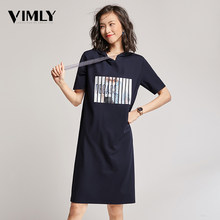Vimly Women Hoodies Shirt Dress Summer Short Sleeve Casual Female Dresses Navy Blue Street Wear Lady Sport Style Modern Pattern(China)