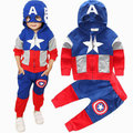 Мстители Super Hero Набор Для Мальчика Костюм Одежда Капитан Америка С Капюшоном Маска Куртки Топ + Брюки Брюки Костюм Для дети Комплект