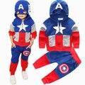 Los vengadores super hero fijado para niño ropa traje de capitán américa máscara encapuchada chaqueta top + pantalones traje pantalón para juego de los niños