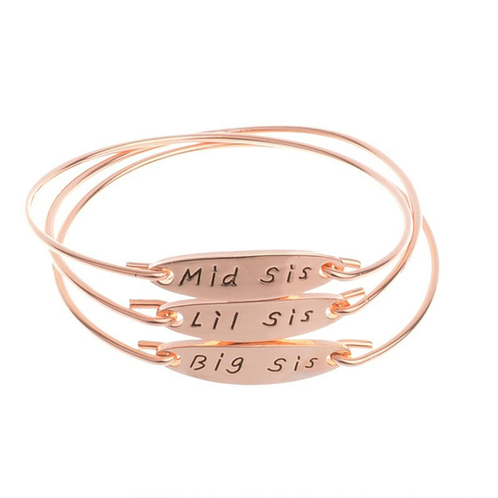 Big Mid Lil Sis Bangle Bracelet Women Girls Jewelry Family Party Gifts Bangles