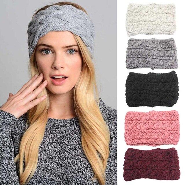Winter Women Ear Warmer Headband Knitting Wool Wide Turban For Lady Solid  Twist Headwrap Head Bands Hair Accessories 743c0aede06