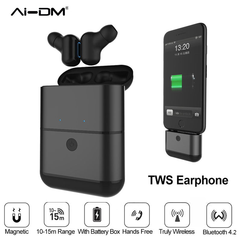 AIDM Hot TWS Earbuds Bluetooth 4.2 Earphones Headset Twins Bass Stereo In-Ear Mini True Wireless Two Headphones With Charger Box hands free noise cancelling hidden in ear bluetooth headset mini true wireless earbuds twins with power bank box