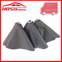 HOSO RACING  universal  PVC  Fiber Look Red/Gold/Blue Stitch JDM Shift Knob Shifter Boot Cover MT/AT