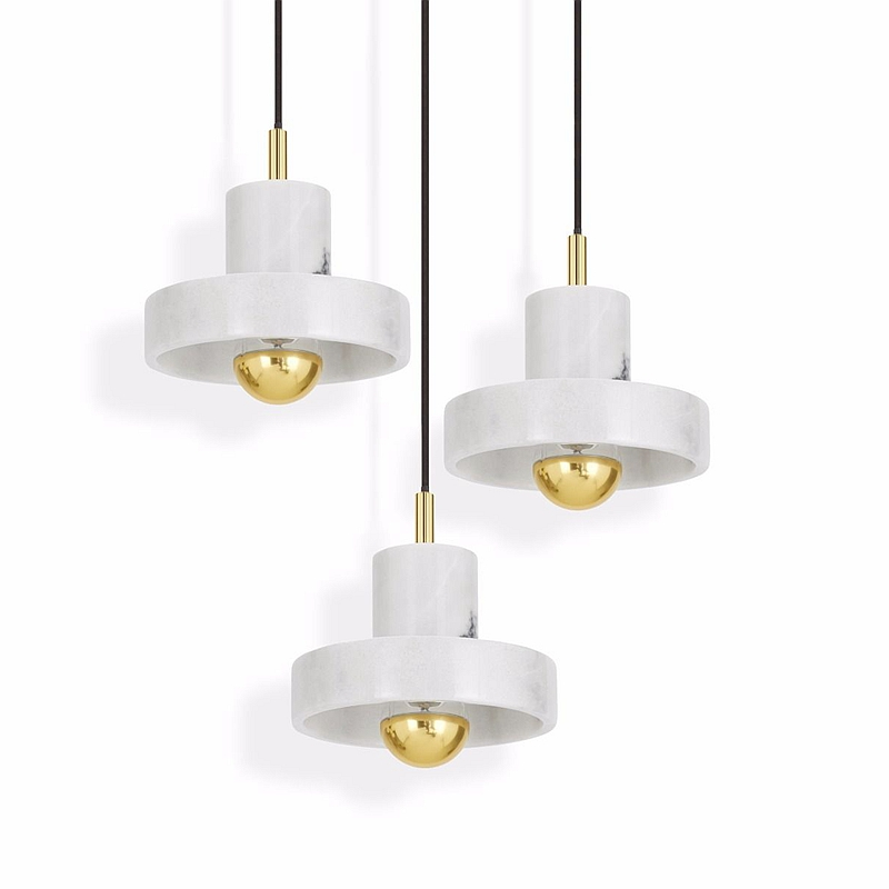 Moderne simple marbre pendentif lumière personnalité créative forme ronde hôtel Foyer restaurant décoration art pendentif LED lampes