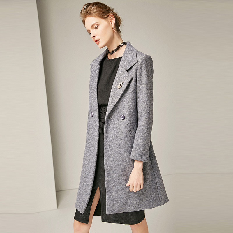 Solid turn down collar loose straight long wool coats 2018 new full sleeve single breasted women autumn winter wool coats
