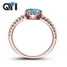 QYI Unique Design 925 Silver Oval Cut Natural Topaz Ring Rose Gold Color colorful gems Wedding Fine Jewelry Accessories wholesal