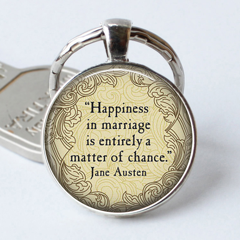 JANE AUSTEN Quote Key Rings - Happiness In Marriage Is...- Literary Librarian Gift Pendant Jewelry Pride And Prejudice Keychain