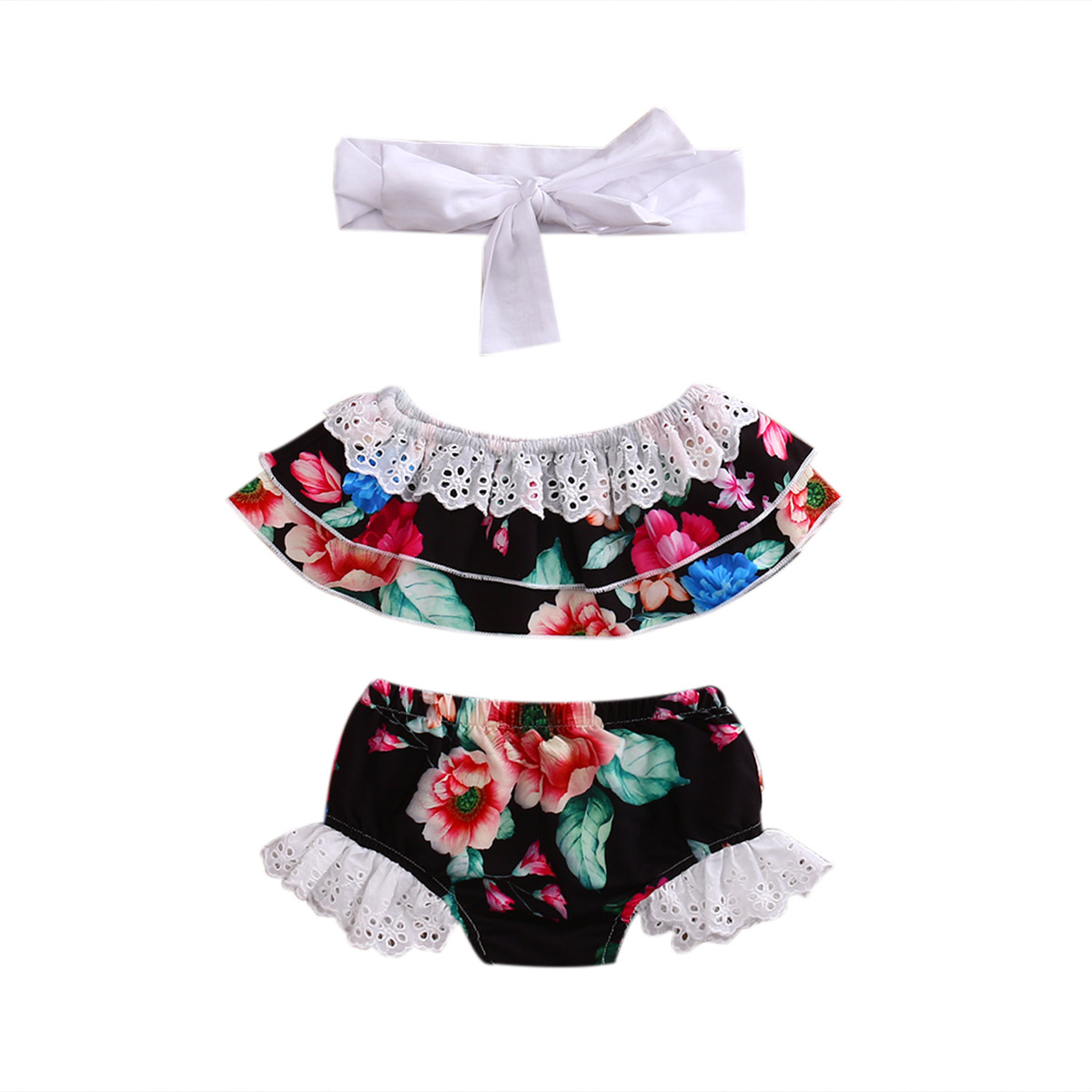 3pcs Sets Newborn Baby Girls Clothes Lace Floral Vest T-shirts Tops+Shorts Pants+Headband Toddler Girls Cute Summer Cotton Suits