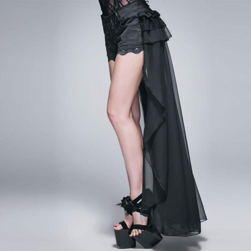 Diabo moda gótico preto sexy shorts com renda longa steampunk verão feminino legal shorts calças personalizadas - 2