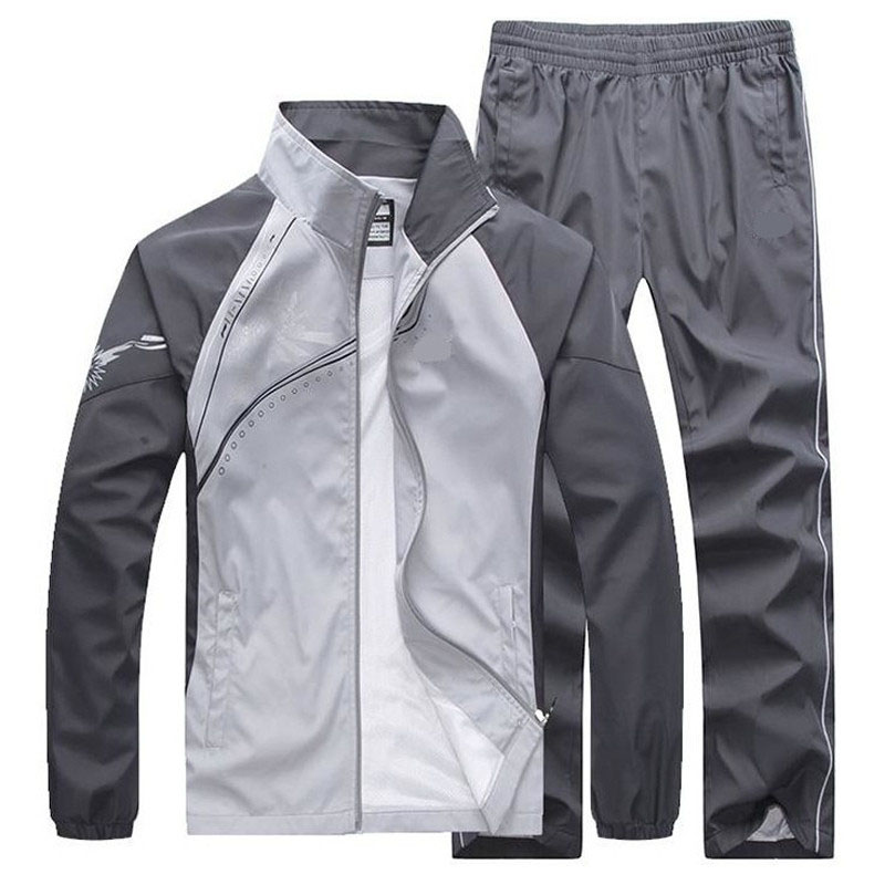2019 New Men's Set Spring Autumn Men Sportswear 2 Piece Set Sporting Suit Jacket+Pant Sweatsuit Male Clothing Tracksuit Size 5XL