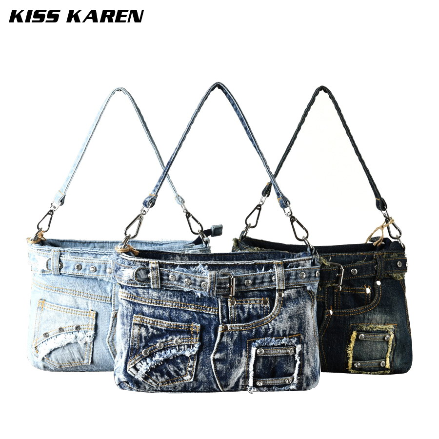 ФОТО KISS KAREN Faux Diamonds Fashion Satchels Denim Handbags Women Bag Women Shoulder Bags Women's Crossbody Bags Lady Cowboy Flap