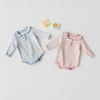 Baby Romper Long Sleeve 2017 New Autumn Striped Cotton Boys Sailor Suit Peter Pan Collar Newborn