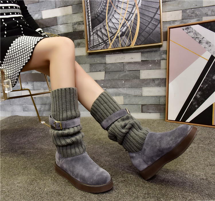 купить Warm Winter Sock Boots Roman Stylish Belt Buckle Design Women Boots Short Booties Color Women Flats Flock Shoes Mid-calf Boots по цене 6705.23 рублей