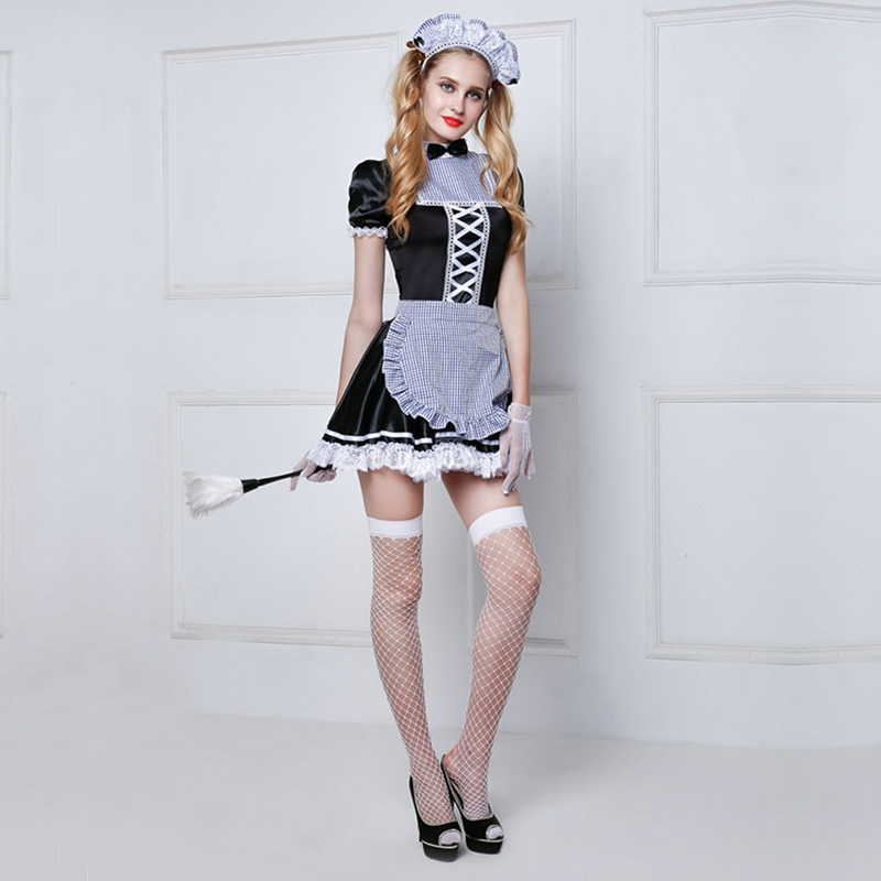 Sexy French Maid Costumes Free Size Women's Hot Erotic Servant Cosplay Dress Patchwork Maid Outfit Lingerie 6008