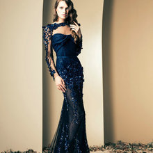 Wholesales Two Pieces Mermiad Tulle Ziad Nakad Navy Blue Evening Dress with Warp 2014