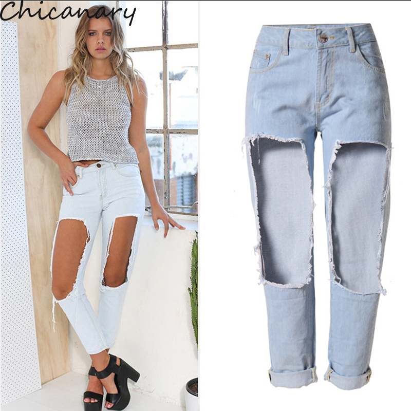 Chicanary Hole Jeans Women Boyfriend Ripped Distressed Jeans Women