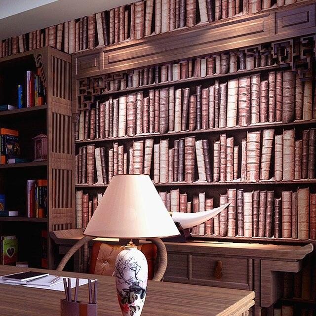 Online Shop Beibehang Bookshelf Wallpaper 3d Stereo Chinese Wall
