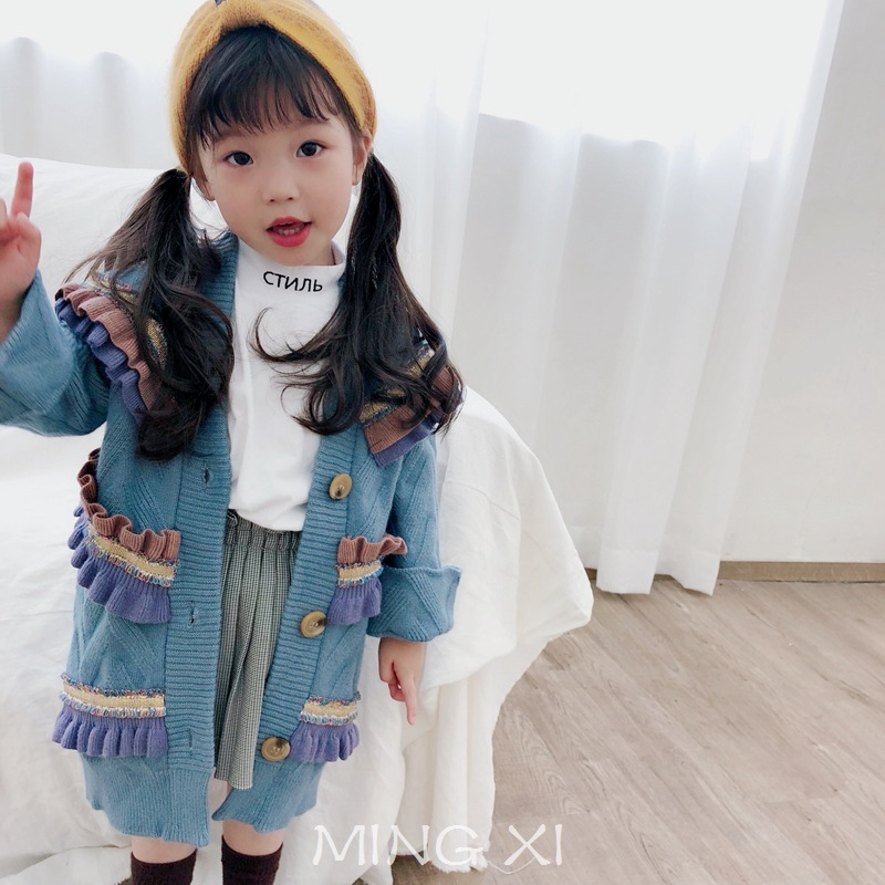 Girls sweater 2018 new autumn female baby needle knit cardigan fungus stitching color coat pleated long sweater navy lace up detail knit long cardigan sweater