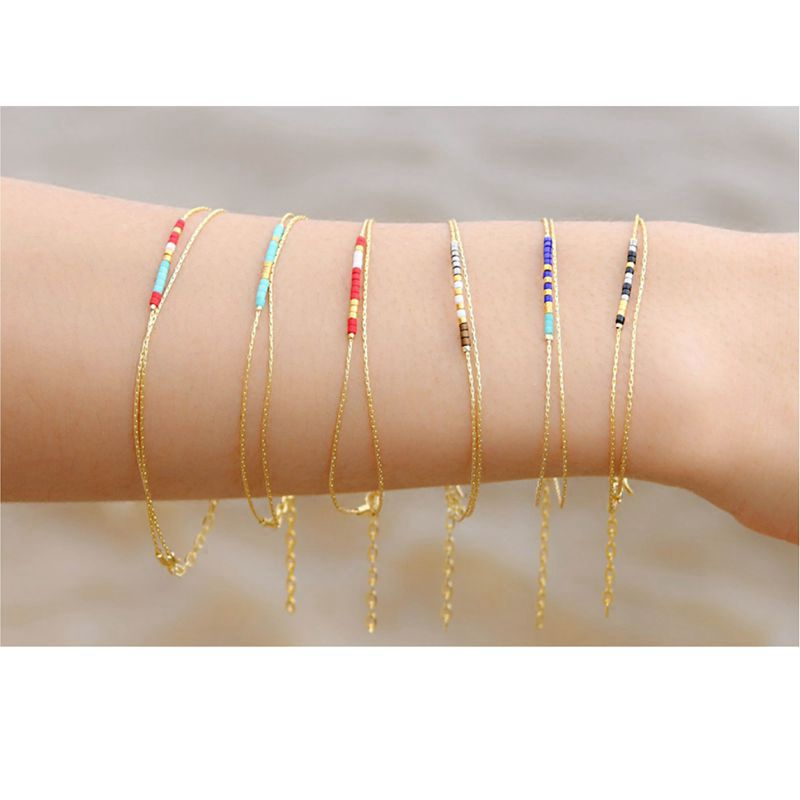 Miyuki Beads Thin Bracelet Pulseras Multicolor Seed Stone Double-layer Bracelets Bangle For Women Gold Link Chain Simple Jewelry