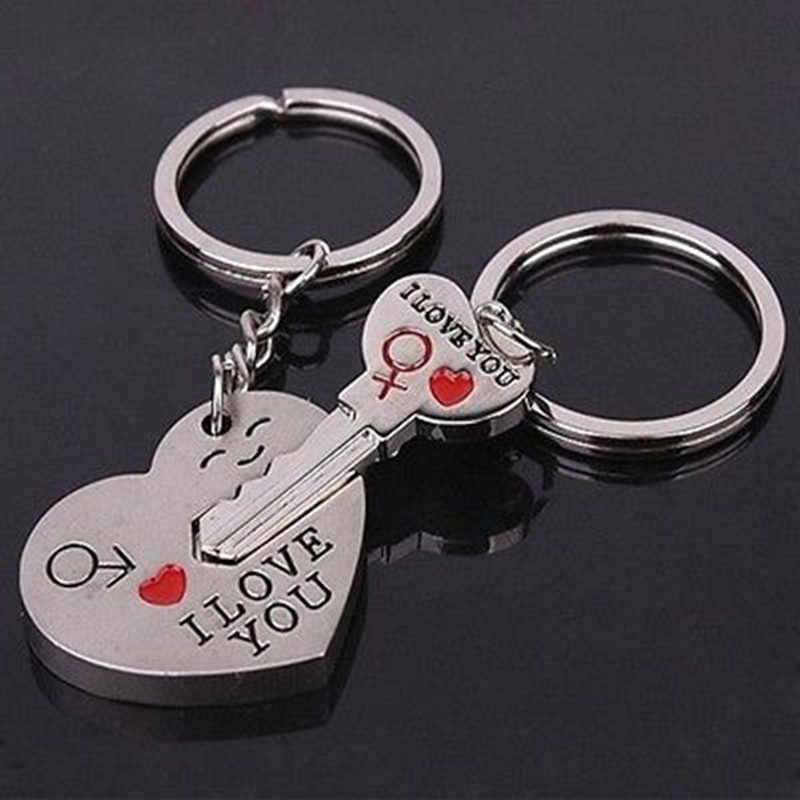 מחזיק מפתחות למפתחות רכב חדש זוג אני אוהב אותך לב Keychain טבעת Keyring מפתח שרשרת מאהב רומנטי J.19