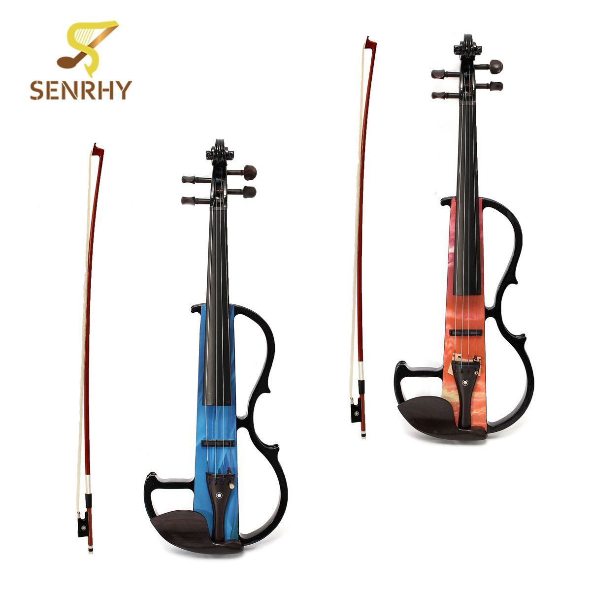 Violin Set Portable Full Size 4/4 Natural Electro Acoustic Violin Fiddle with Bow Rosin String Carry Case Shoulder Rest Acoustic 4 4 high grade full size solid wood natural acoustic violin fiddle with case bow rosin professional musical instrument