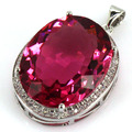 Big Gems 22x18mm Created Pink Tourmaline, CZ SheCrown Woman's Engagement Party   Silver Pendant 25x20mm