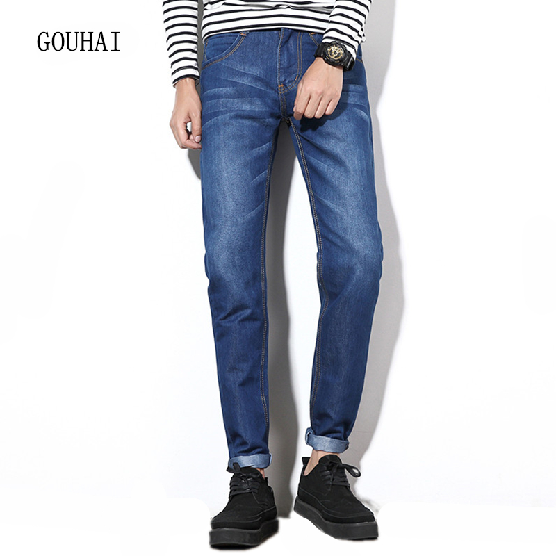 2017 New Men Jeans Blue Male Slim Fit Jeans Full Length Plus Size 28-42 Italian Style Fashion Mens Solid Straight Denim Trousers hee grand 2017 british style plus size men solid jeans full length straight mid waist comfortable male jeans mkn858