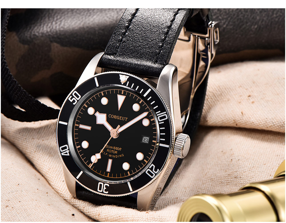 41mm Corgeut Black Dial Luxury Brand Sapphire Glass Leather Luminous Mark Complete Calendar Miyota Automatic Movement mens Watch in Mechanical Watches from Watches