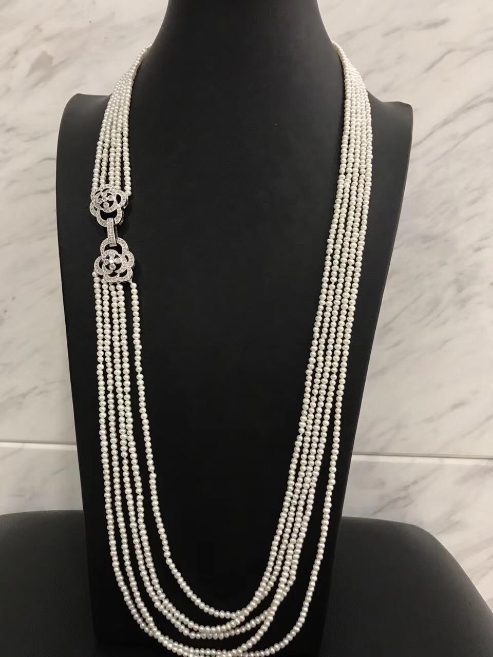 2-3 MM long collier de perles d'eau douce multi couches nearround 76 CM mode femmes bijoux livraison gratuite vraie perle de culture