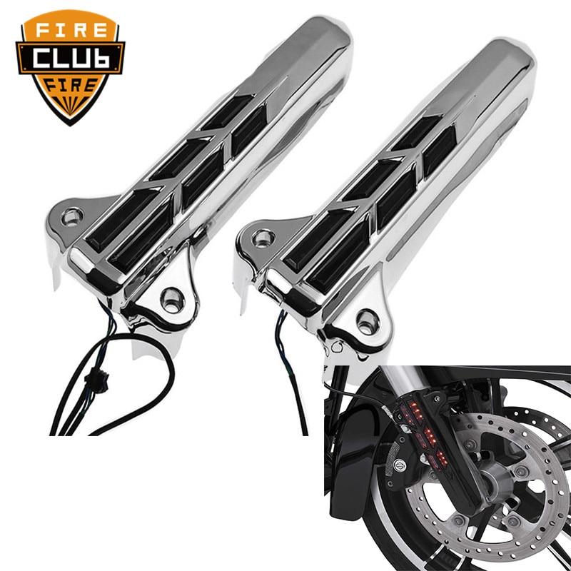 Pair Chrome Front Fork Lower Leg Covers Slider Without LED for Harley FLHX FLHR