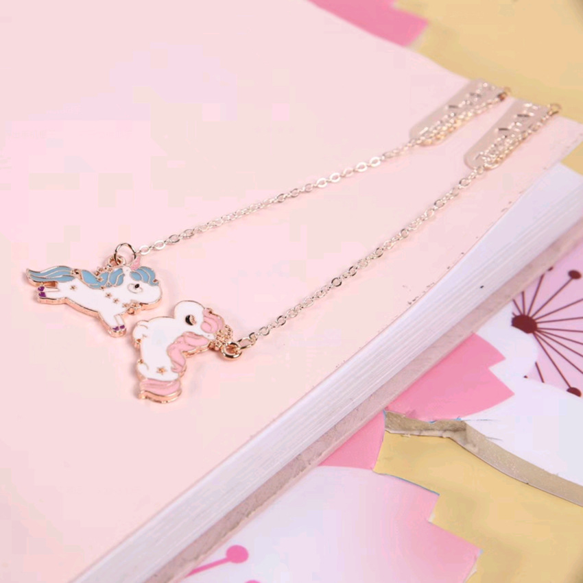 Image 3 - 24 pcs/lot Unicorn Bookmark for book markers Cartoon metal pendant paper clip School Office Supplies stationery gift escolar-in Bookmark from Office & School Supplies