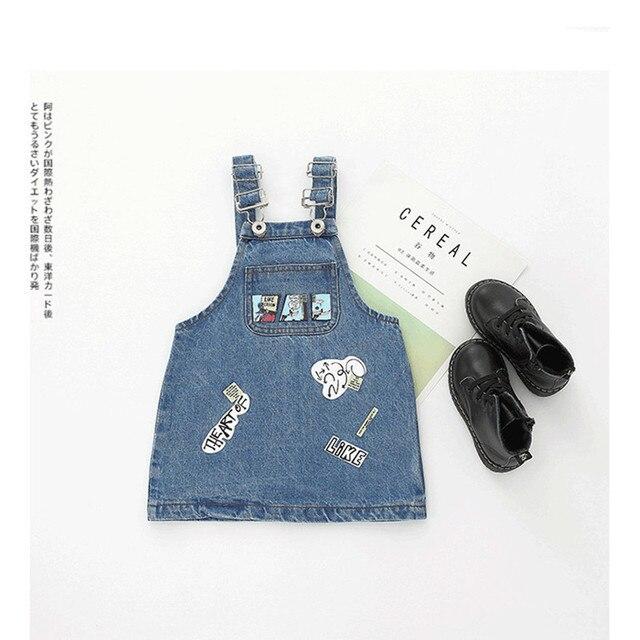 61b9a631210f Baby girls dress Girls Straps dress Letter printing kids overall ...
