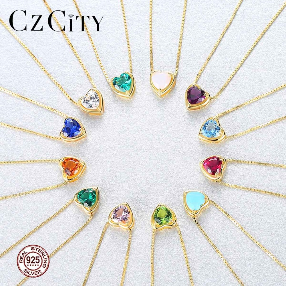 CZCITY New Design Pure 925 Sterling Silver Pendant Necklace For Women Trendy Exquisite 18K Plated Collar Mujer Colorful Jewelry