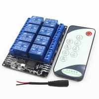 IR Inteligente Interruptor de Controle Remoto Módulo de Relé 12 V de 8 VIAS, Adicionar IR Transmmiter e 5.5mm plugue fêmea DC fio