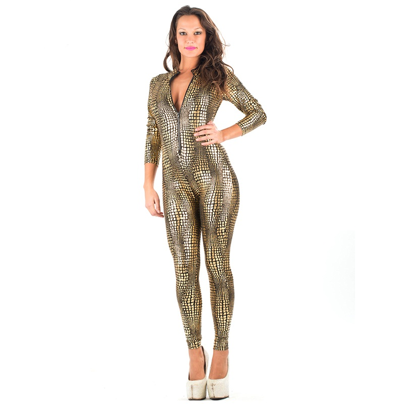 Hot Sale New Black Sliver Gold Sexy Catwoman Costume Sexy Catsuit For  Vinyl Leather Snakeskin Long Jumpsuit W7980