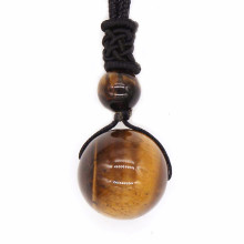 Kraft-beads Round Beads Natural Tiger Eye Stone Pendant Black Rope Chain Necklace For Men Jewelry цена и фото