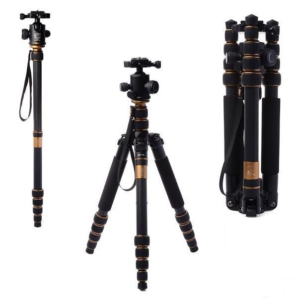 Fast shipping Q-666C Portable Carbon Tripod Monopod Kit & Ball Head Compact Travel Carbon SLR Camera Tripod